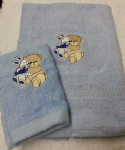 TEDDY AND RABBIT PERSONALISED TOWEL SET - BLUE